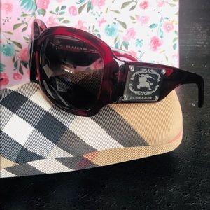 Burberry EUC B4035 Red Square Wrap Sunglasses